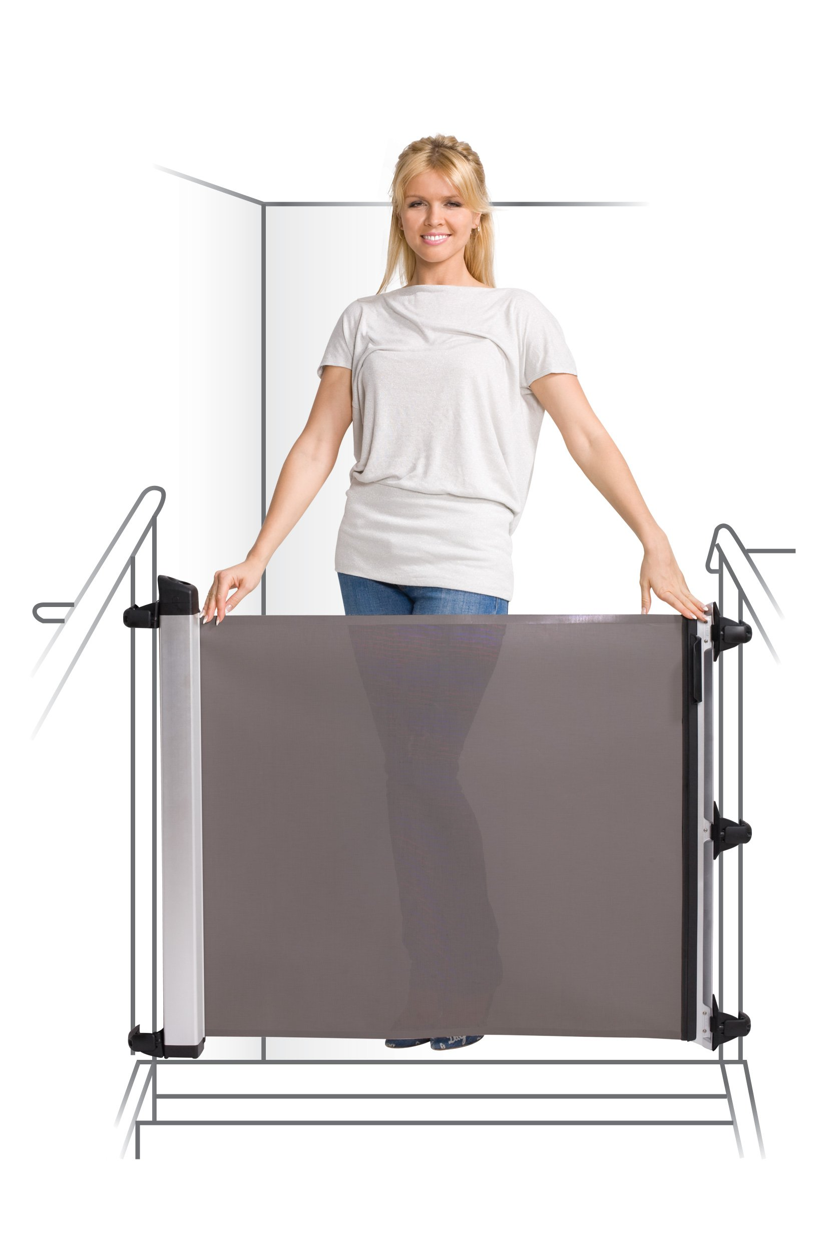 Lascal KiddyGuard Avant Baby Safety Gate Black Lascal Safety Gate discètes on easy to use one handed The curtain can extends to protect any space up to 120cm wide and 80cm height Designed to withstand an impact of 100kg 7