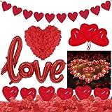 Kit Romantico Amore 1000 Petali di Rosa Finti Rossi 50 Candele Rosse 20 Palloncini Cuore 1 LOVE Palloncini,Sorprese Romantich