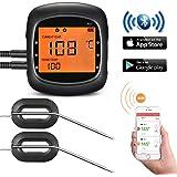 TOPELEK Grillthermometer Bluetooth Steak Thermometer Großes Display mit Hintergrundbeleuchtung Magnetisches Montagedesign 2 Sonden Enthalten Thermometer für Küche Grill Essen Steak.