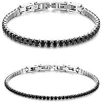 JewelryWe Bracciale Coppia Donna Uomo Fidanzati con Zircone Lucido Perline Braccialetto di Tennis Eleganza Moderna…