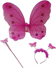 ROYALS Baby Girl 's Fairy Butterfly Wings Costume for Angel for Birthday (Dark Pink, FAIRY9)