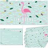 Postkartenschmiede 12 Flamingo Einladungskarten Geburtstag Kinder Mädchen für Kindergeburtstag, Flamingo-Party, Einladungskarten mit Flamingos für Maedchen