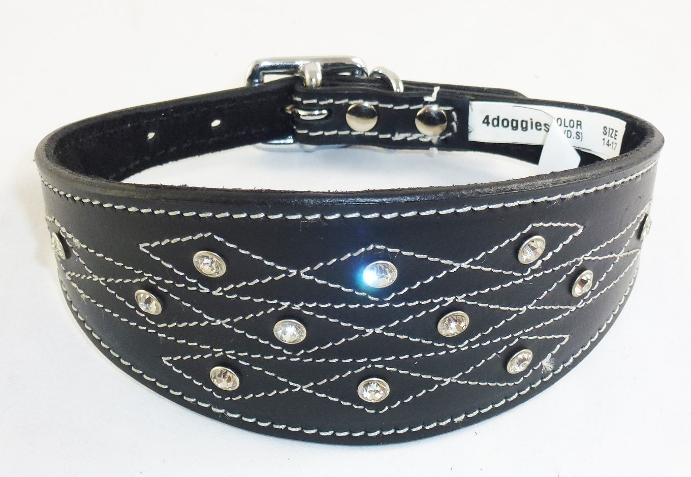 12-14 Inch Black Whippet Leather Collar Diamante Stiching Design