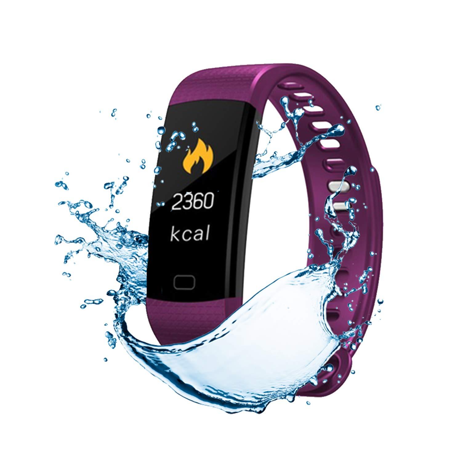Pulsera de Actividad Inteligente FitBand cRadia con pantalla táctil, pulsómetro láser, monitor de Frecuencia Cardíaca HR, Podómetro, resistente al agua con protección IP67, contador de pasos y monitor de Sueño para Android y iPhone 9
