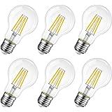 LVWIT Lampadina Filamento LED E27,7W Equivalenti a 60W,806Lm,2700K,Luce Bianca Calda,Forma A60 Stile Vintage,Risparmio Energetico,Consumo Basso,Non Dimmerabile,Confezione da 6 Pezzi