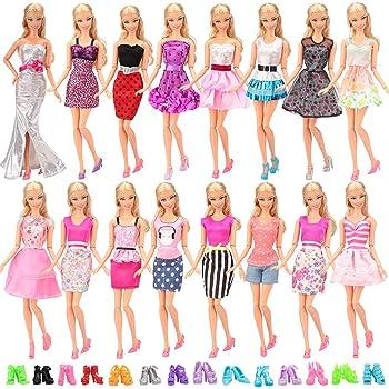 Miunana 20 Pezzi  10 PCS Abiti Vestiti Gonne Camiciette Alla Moda Fashion +  10 PCS Scarpe Selezionati A Caso Per Barbie Dolls 4b4e5be8922