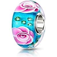 MATERIA 925 argento ciondolo a forma di rosa turchese Perle rosa verde - Perle in vetro di murano a forma di fiore per…