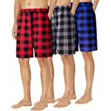 siliteelon Men's 3 Pack Flannel Pyjama Shorts Bottoms Lounge Shorts with Pockets