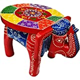 Mansi Enterprises Hand-Crafted Wooden Elephant Stool, Emboss Painted (Multicolored)