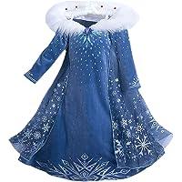 Eleasica Filles Cosplay Robe de Princesse Elsa Manches Longues Reine des Neiges Robe Longue Costume de Robe Bleu Chaude…