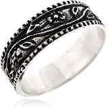 سوفاتس العتيقة زهرة مع ورقة ديزي باند للنساء 925 الفضة الاسترليني أوكسيدزد السطح - بسيط وأنيق وعصري خاتم خالٍ من النيكل