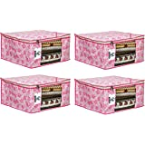 """Virtue Saree Cover Storage Bag Big, Set of 4, 100GSM Non Woven Fabric Cloth 9"""" Height Large Design, 17 x 14 x 9 Inches…"""