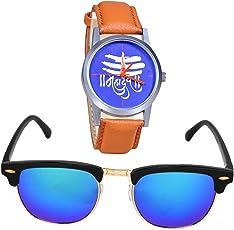 Just Like Uv Protected Wayfarer and Mahadev Watch Sunglasses Combo