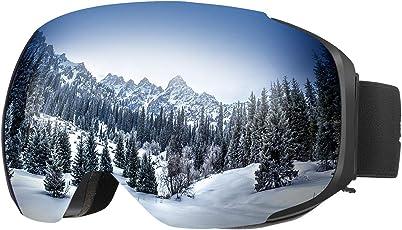 ENKEEO Skibrille Magnet Snowboardbrille Anti-Nebel UV-Schutz Winddicht Ski Schutzbrille mit Austauschbare sphärische rahmenlose Linse für Skifahren, Motorrad, Fahrrad, Skaten