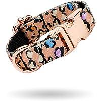 Collare per Gatto Regolabile con Motivo Leopardato Animale Selvatico con Fibbia in Metallo a Sgancio Rapido in Oro Rosa…