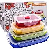 WAWJ Boite Alimentaire Pliable, 4 Boîtes de Conservation des Aliments en Silicone, Récipients Pliables en Silicone, Set De Bo