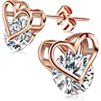 Women Silver Studs Earrings  JOXFA 925 Sterling Silver Heart Earrings for Girls  5A Cubic Zirconia Hypoallergenic Birthday Christmas Earrings Jewelry with Elegant Gift BoxEstimated Price : £ 17,99