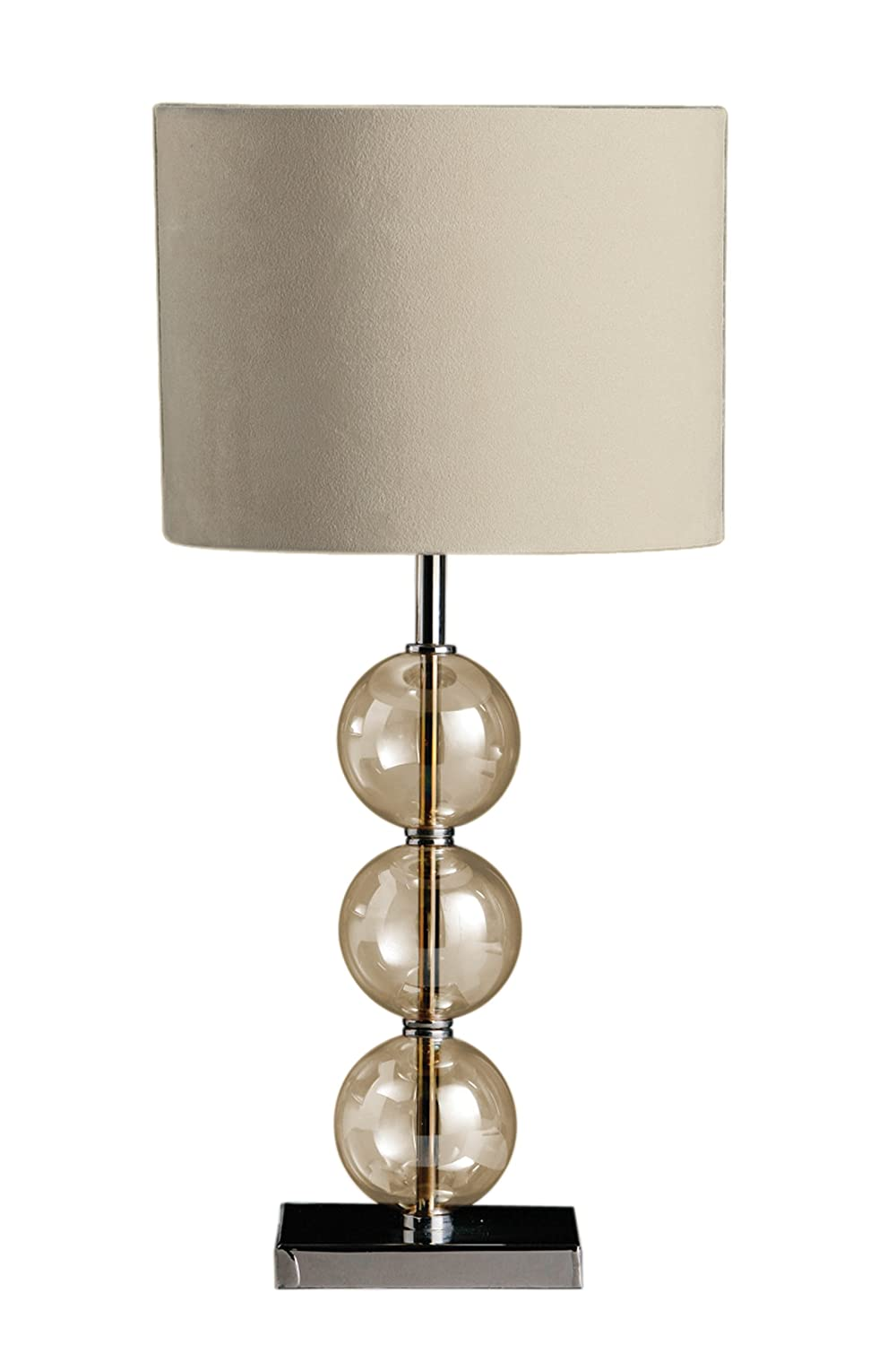Premier Housewares Mistro Table Lamp With 3 Amber Glass Balls Chrome Base  And Cream Faux Suede Shade: Amazon.co.uk: Lighting