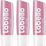 Labello Pearly Shine im 3er Pack (3 x 4,8 g), Lippenpflegestift mit zart schimmerndem Finish, intensive Lippenpflege ohne Mineralöle