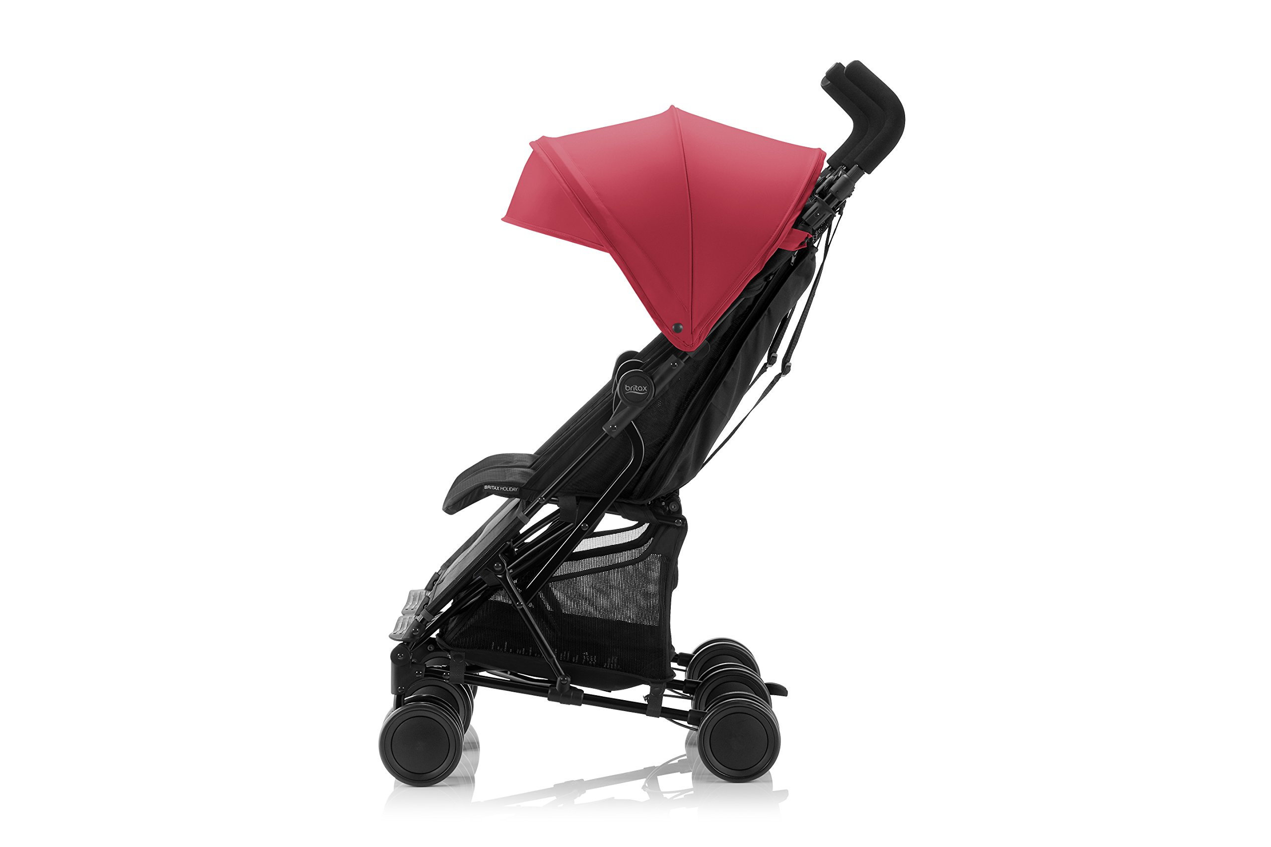 Britax Römer HOLIDAY DOUBLE Pushchair (6 months - 15 kg|3 years ) - Red/Blue  Reclining backrest - you can make your child's journey even more convenient with the reclining backrest. the backrest can be reclined independently which gives you the flexibility to provide a relaxing sleeping position for each child individually. Seat unit with mesh panels - to keep your child comfortable on hot days, the seat unit has mesh panels on the sides and top of the seat unit for better air circulation. Large hood with sun visor - when taking a nice relaxing stroll in the sun, the large hoods with sun visor are independently adjustable and provide protective shade to your little passenger. 6
