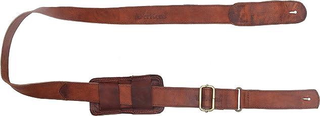 WerKens Genuine 100% Leather Adjustable Guitar Strap/Belt with Comfort Grip (2 inch Wide)
