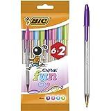 BIC Cristal Fun Stylos-Bille Pointe Large (1,6 mm) - Couleurs Assorties, Pochette Format Spécial de 8