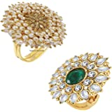 okos Traditional Ethnic Gold Plated Alloy Adjustable Cocktail Finger Ring for Women - Combo of 2 - CO1000230C