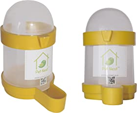 PetNest Bird's Plastic Cage Water and Food Feeder, 200ml - Pack of 2