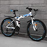 High Carbon Steel Mountain Bike 24/26in, 21/24/27/30 Variable Speed Optional Folding Bike, Shock-absorbing Double Brake Non-s