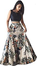 Generic SARVAM FASHION Women's Benglori Silk Semi-stitched Lehenga, Free Size(SF_10, Multicolour)