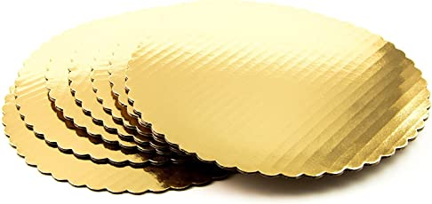 SMARTBUYER 7Inch Golden Round Cake Base With Laminated White Back - Pack of 10