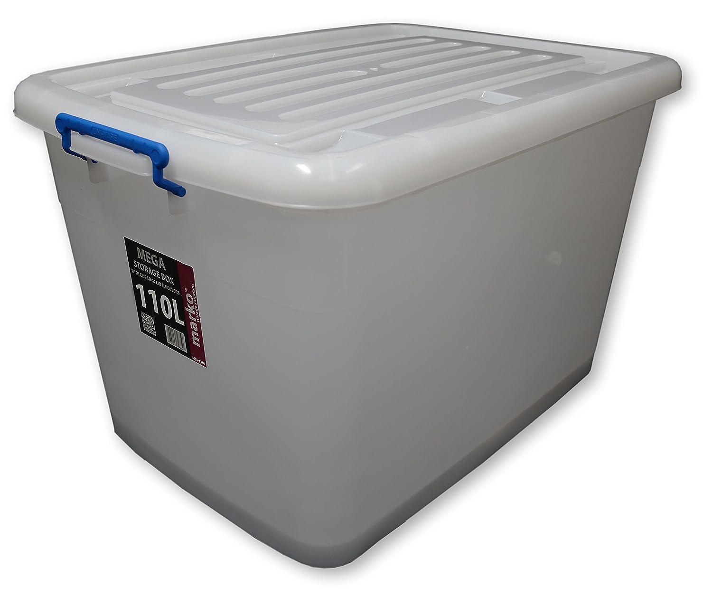 2 X 110L Large Plastic Storage Boxes Wheels U0026 Clip Lids: Amazon.co.uk:  Kitchen U0026 Home