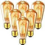 ANWIO 4W Ampoule à Filament LED E27 ST64, 410Lm Equivalent à Ampoule Incandescente 35W, Ampoule Rétro Edison de Verre Transpa