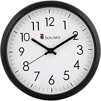 Amazon Brand - Solimo 11-inch Wall Clock (Silent Movement, Black Frame)