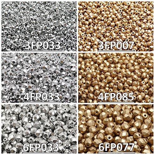 Tschechische Fire-Polished Glasperlen Rund 3mm, 4mm, 6mm, Zwei Farben. Insgesamt 500 Stück. Set 2CFP 011 (3FP033 3FP007 4FP033 4FP085 6FP033 6FP077)