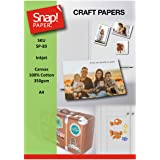 SNAP Inkjet Printable Canvas 100% Cotton Fabric 350gsm Easy-Feed A4 x5 Sheets SP-83-5