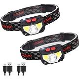 Linterna Frontal LED USB Recargable, ZOYJITU 2Pcs Linterna de cabeza led recargable, 8 Modos de uso (Luz Blanca/Luz Roja/Sens