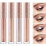 Sombras De Ojos Brillantes Líquida Con De 4 Colores Brillo Metálico Duradero Resistente Al Agua Maquillaje De Alto Pigmento S