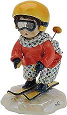 Zampiva Skifahrer aus handgefertigter Keramik