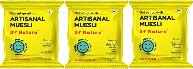 By Nature Artisanal Muesli - Assorted (Pack of 6) | Cranberry & Almond (2) | Cacao Bean & Raisin (2) | Figs & Pistachios (2) | Baked Snack | Gluten-Free