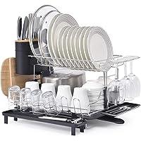 Kingrack Séchoir à vaisselle en 304 acier inoxydable,Égouttoi Etendoir à vaisselle grande 2 niveaux porte-vaisselle avec…