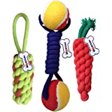Petlicious & More Combo of 3 Durable Pet Teeth Cleaning Chewing Biting Knotted Small Puppy Toys -100% Natural & Safe…