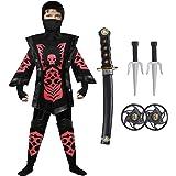 Tacobear Disfraz de Ninja para Niño Disfraz de Calavera Ninja Disfraz de Cosplay Disfraz Infantil de Halloween Negro y Rojo 4