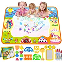 MerryXGift Water Doodle Mat, Large(39.4 x 27.5in) Rainbow Drawing Mat 6 Colors Writing Pad with Aqua Water Book, 4 Magic Pen & Stamp - Best Learning Toy for Toddlers Age 2 3 4 5 6 7+ Years Old