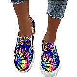 BIBOKAOKE Damen Loafers Sommer Sportschuhe Farbverlaufsdruck Slip On Bootsschuhe Slipper Freizeitschuhe Einzelschuhe Flache C
