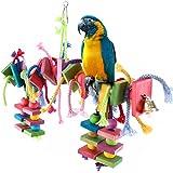 Unbekannt Papagei Spielzeug Kauspielzeug für Wellensittich Papageie Kauen Spielzeug aus Holz hängen Bunte Biss, Geeignet für Papageien, Sittiche, Aras, Graupapageien, Holzblöcke