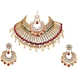 Swarajshop Gold Plated Green Maroon Color Pearls Traditionally & Bridal Wedding Kundan Choker Necklace Jewellery Set For Wome