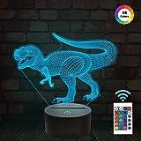 Dinosaurier-Nachtlicht, Dinosaurier spielt optische Täuschung 3D 16 Farben, die mit Fernbedienung, Geburtstags-Weihnachtsgeschenke für Baby ändern Erstaunliche Beleuchtungs-Geschenke