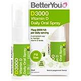 BetterYou D3000 Vitamin D Daily Oral Spray | 3000 IU (75 UG) of Vitamin D3 (Cholecalciferol) | 15 ml (100 Sprays…