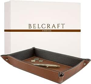 Belcraft Luni Svuotatasche in Pelle, Elegante Pensiero con Scatola Regalo, Realizzato a Mano da Artigiani Toscani, Porta Oggetti, Marrone Chiaro (28x19 cm)